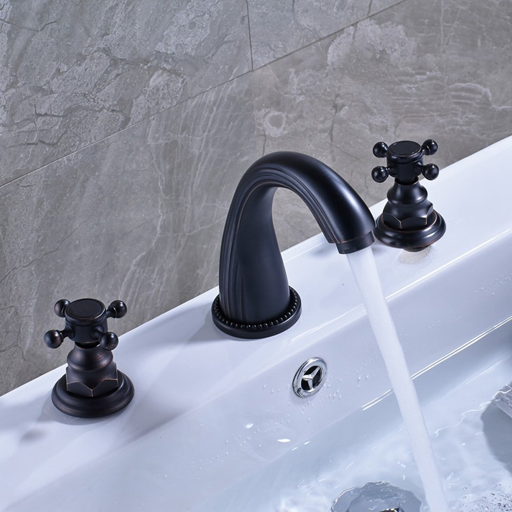 Votamuta Deck Mounted Three Holes Double Handles Widespread Bathroom ...
