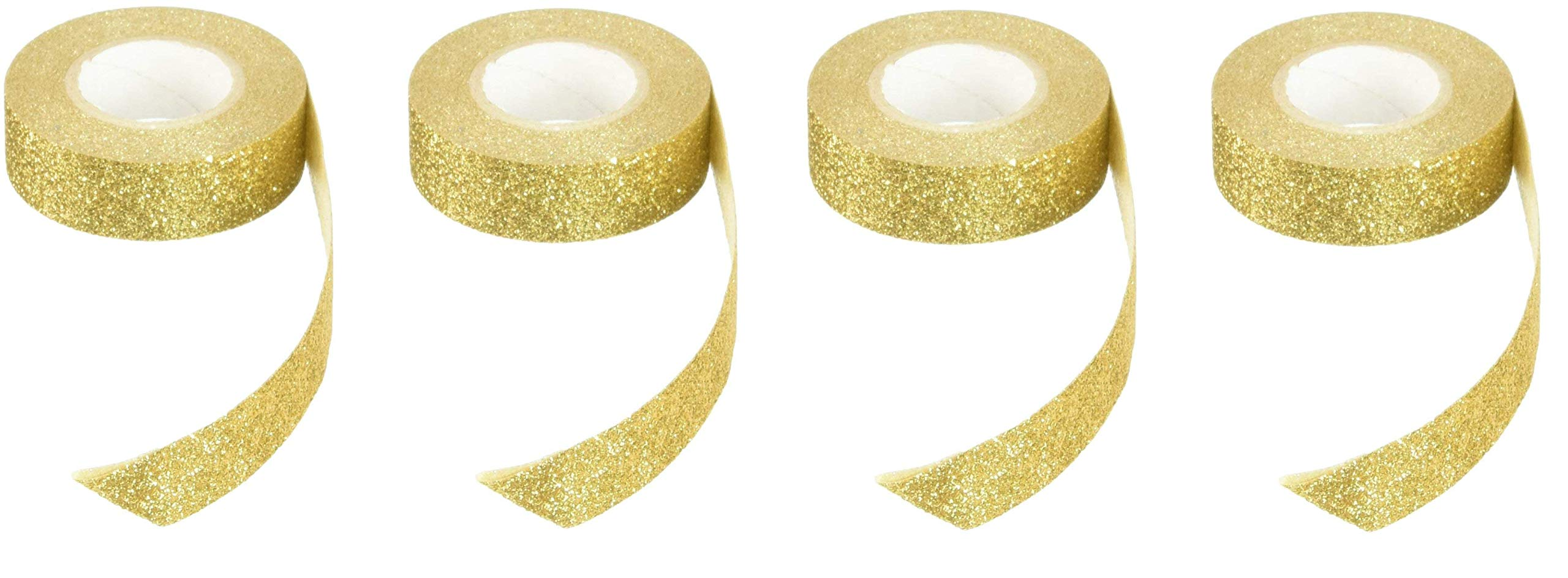 Best Creation Glitter Tape, 15mm by 5m, Gold - GTS002 (4-Pack)