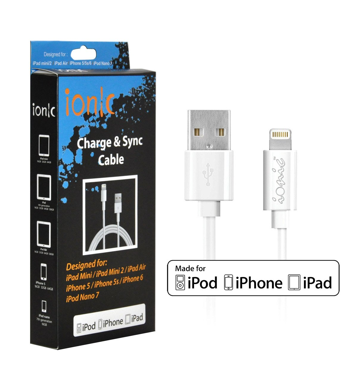 Amazon ionic usb lightning data cable for apple ipad pro ipad mini 4 iphone 6 iphone 6 plus iphone 6s iphone 6s plus 2015 smartphone white made for iphone certificate cell phones accessories xflitez Images