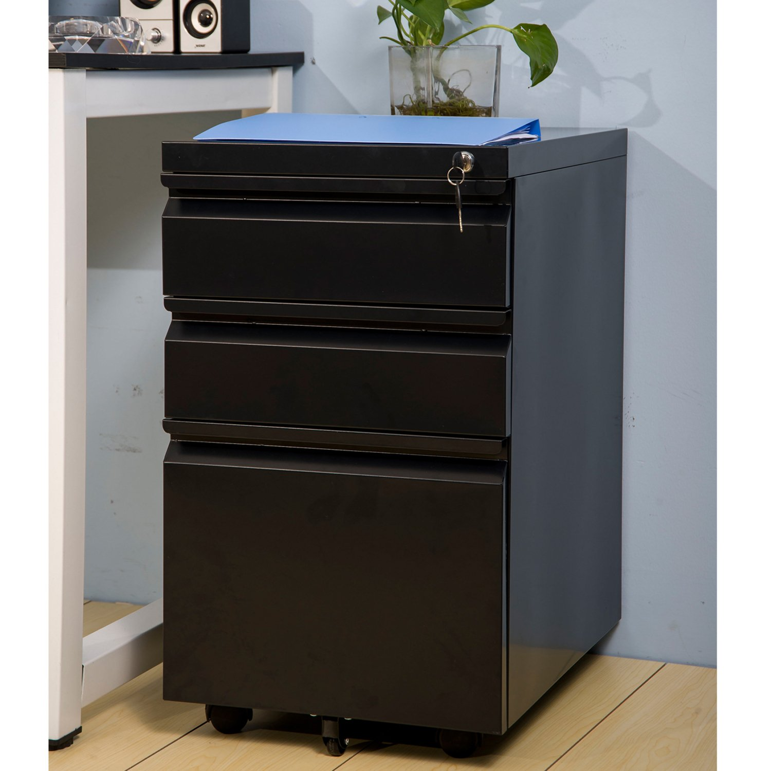 Merax Metal Solid Mobile Storage 3 Drawer File Cabinet with Keys - Fully Assembled Except Casters(Black)