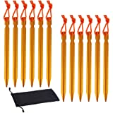 Rovtop 12Pcs Gold Aluminum Tent Stakes Pegs for Camping,Beach,Outdoor and Sand