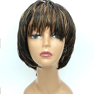 "FeiBin Synthetic Box Braid Wigs African American Bob Braided Wigs for Black Women 12""(Color 1B/27)"