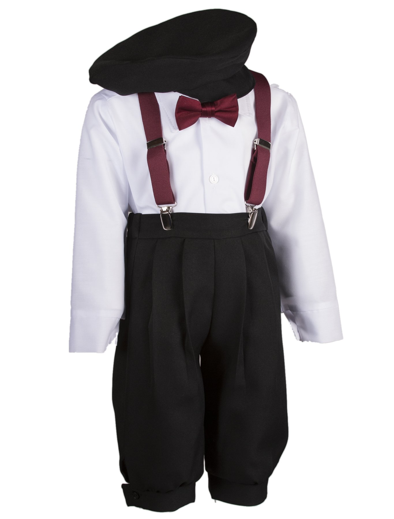 Boys Black Knickers Set Pageboy Cap Burgundy Suspenders & Bow Tie (6 Boys)
