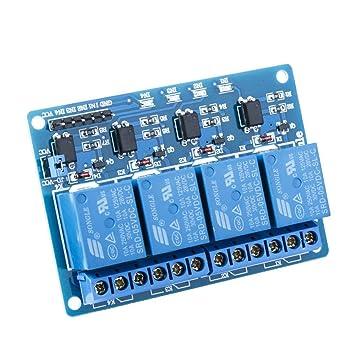 Seekool Módulo Relé De 4 Channel Dc 5v Acoplador óptico Adecuado Para Arduino Uno R3 Kit Mega 2560 Proyecto 1280 Dsp Arm Pic Avr Stm32 Raspberry Pi