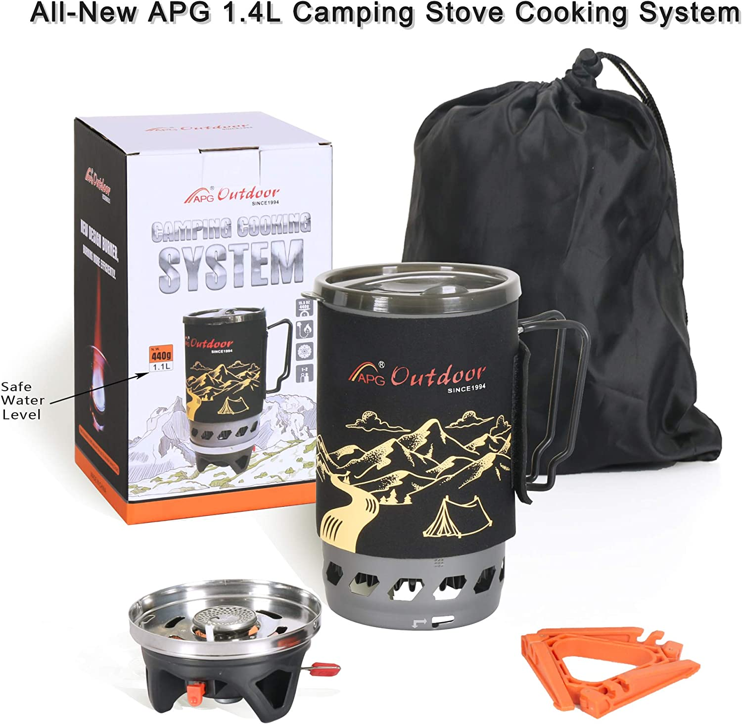 Fast Boil Fuel Efficient Flash Cooking Propane Burner Outdoor Hiking Backpacking Camp Stove Portable Gas Stove Burner APG Mount 1.4-Liter Camping Stove Cooking System