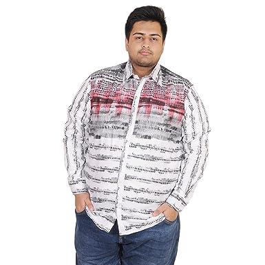 5beb84bfc05 Men s Red   White combination Designer printed regular fit casual shirt at  M Large