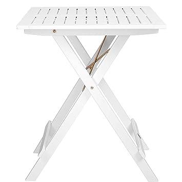 Butlers Lodge Holztisch Weiß Klappbar 55x55x73 Cm Viereckiger