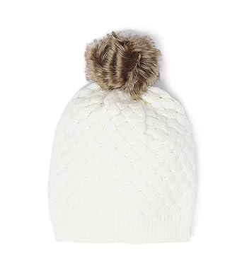 2ca6d946c27763 J.Crew Mercantile Women's Faux Fur Pom Pom Beanie Hat (Ivory/Brown Fur