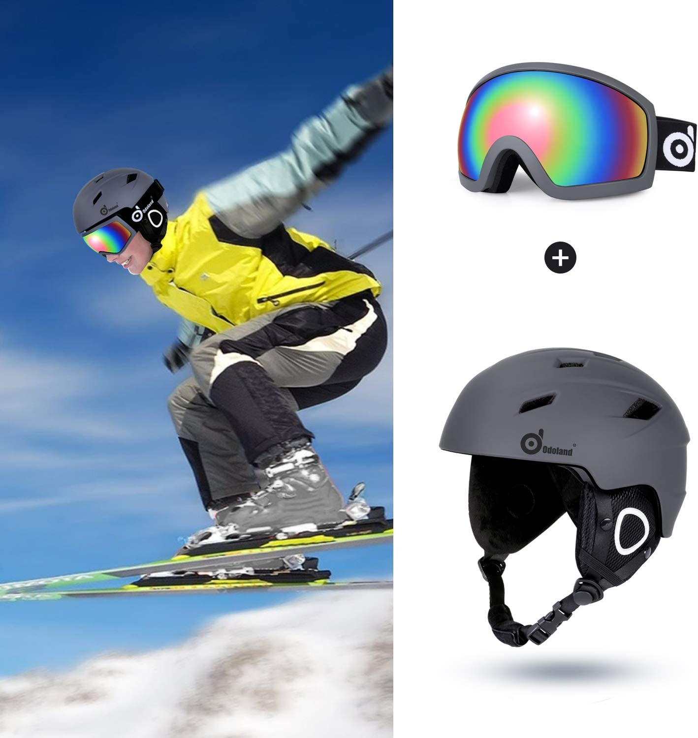 Sports Helmet and Protective Glasses Snowmobile,Gtay,XL Motorcycle Cycling Odoland Snow Ski Helmet and Goggles Set for Kids and Adult Snowboarding Shockproof//Windproof Protective Gear for Skiing