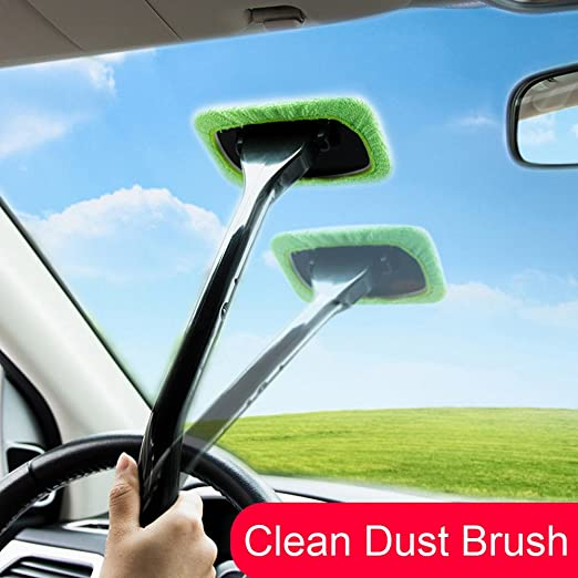 Includes Long Handle Cleaner 2 Wipes and Storage Pouch Hand Cloth Auto Glass Cleaner Wiper Keeps Cars Vehicles Interior Exterior Windshields Windows Clean