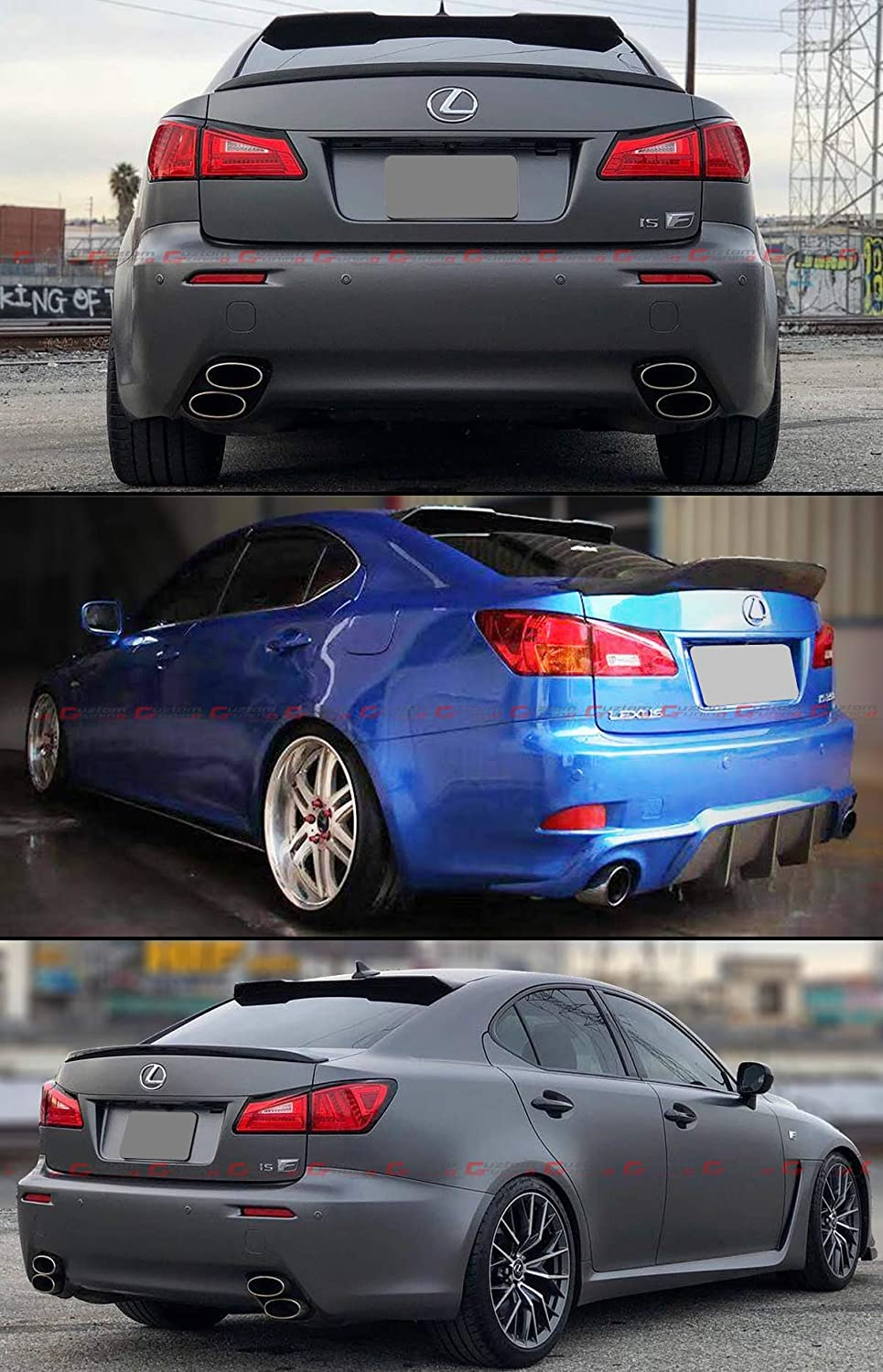 Cuztom Tuning Fits for 2006-2013 Lexus IS250 IS350 ISF Carbon Fiber High Kick R Style F Sport Rear Window Roof Spoiler