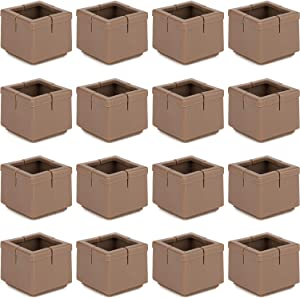 """Anwenk Chair Leg Floor Protectors Square Furniture Leg Caps 1 1/4 to 1 3/8"""" with Felt Pads Brown (16 Pack)"""