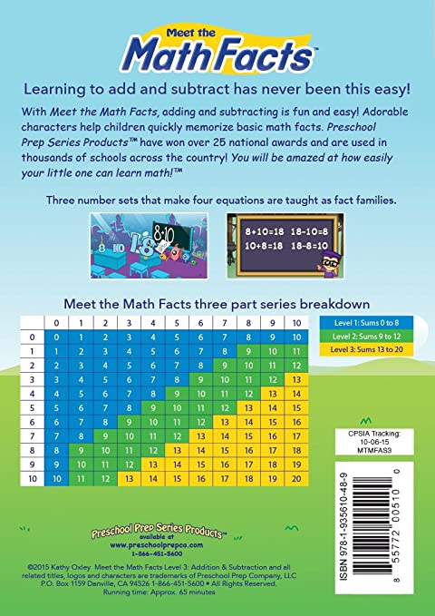 Amazon.com: Meet the Math Facts Addition & Subtraction - Level 3 DVD ...