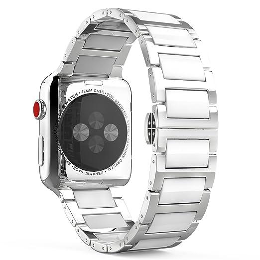 15 opinioni per MoKo Cinturino per Apple Watch 42mm, Braccialetto in Ceramica e Acciaio