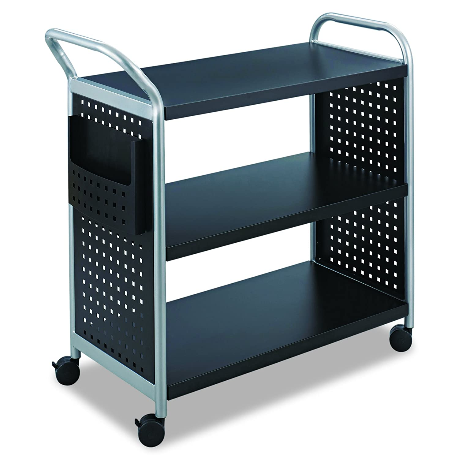 Safco Products 5339BL Scoot Steel Utility Cart, 3 Shelf, Silver Black