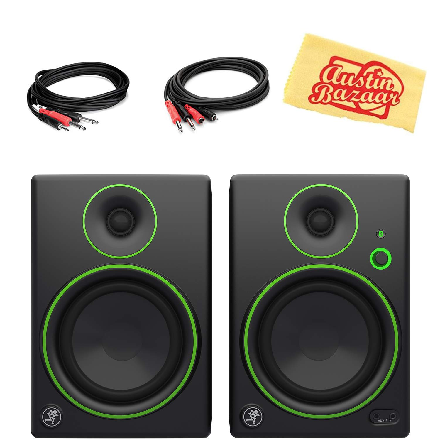 Mackie CR5 5-Inch Multimedia Monitors with Bluetooth Bundle with 2 Monitors, Stereo Breakout Cable, 1/4''-to-RCA Cable, and Austin Bazaar Polishing Cloth