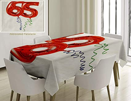 Unique Custom Cotton And Linen Blend Tablecloth 65Th Birthday Decorations Balloons Age Sixty Five Joyous