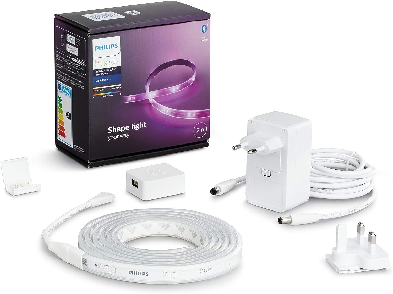 Philips Hue Lightstrip Tira Inteligente LED 2m, con Bluetooth, Luz Blanca y Color, Compatible con Alexa y Google Home (incl. alimentador)