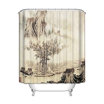 ZLYAYA*Modèle de style chinois salle de bains rideau de douche ...