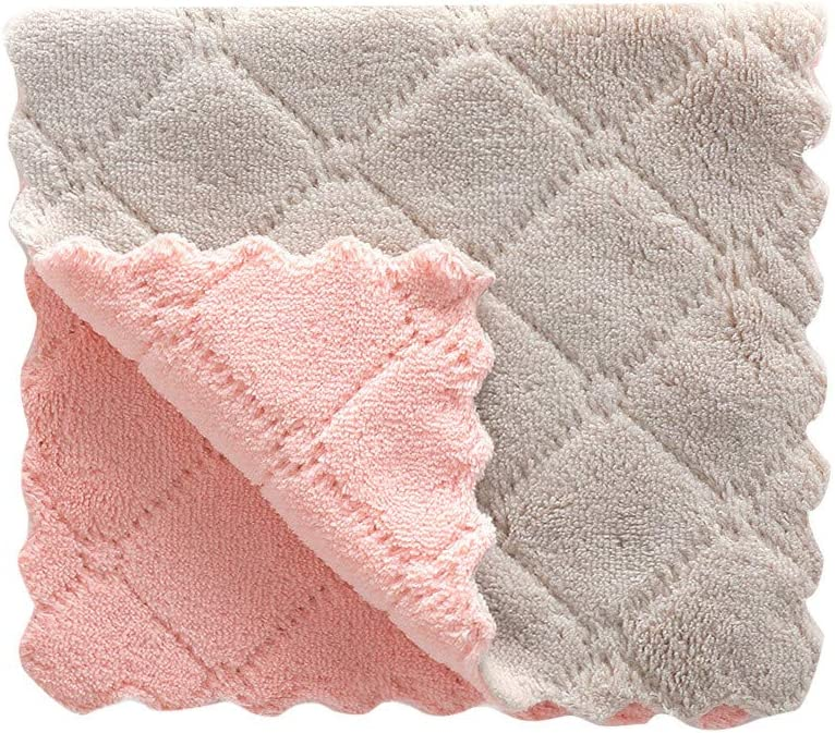 BESSKY Nonstick Oil Coral Velvet Hanging Hand Towels Kitchen Dishclout Washing Tools Dish Cloths for Bathroom Home Travel (2716cm, Gray (1PC))