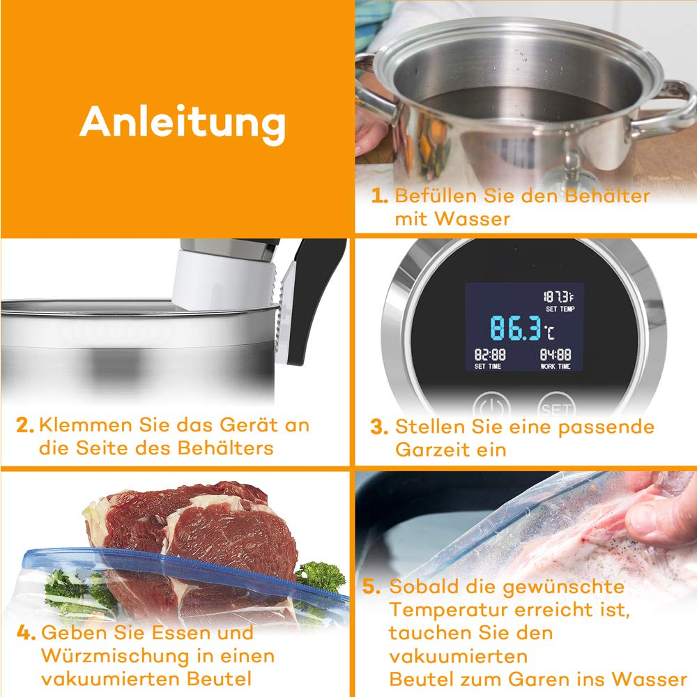 0 /°C Olla de precisi/ón de 1000 W temporizador pantalla digital Sous Vide Stick con termostato con temperatura precisa acero inoxidable para carne 95 /°C