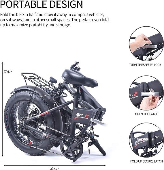 ENGWE EP-2 Outlaw Fat Tire bicicleta eléctrica – plegable ...