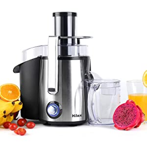 Hilax Centrifugal Juicer 850W Power, Extractor Press Juicer Machine 3 Inch Wide Mouth 2-SPEED with LED Light, One Button Easy Clean Stainless Steel Juice Blender for Vegetables and Fruits, Silver