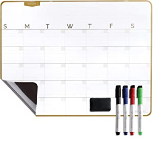 Magnetic Dry Erase Calendar Board - 17 x 13-inch Whiteboard with 4 Magnetic Markers and Eraser, Monthly Planner for Refrigerator, Kitchen and Office