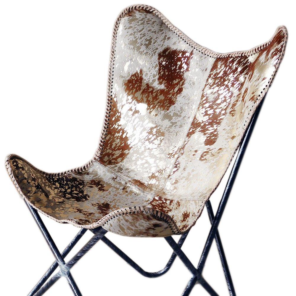 texandecor Genuineレザーバタフライ椅子Folding LoungeモダンスリングアクセントSeat B07FPGHSVV