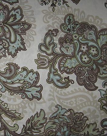 Peri QuotMariettaquot Floral Paisley Brown Blue Green Tan Shower Curtain