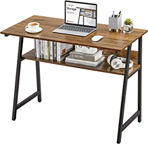 WOHOMO Small Computer Desk for Small Spaces with Storage Shelf,Office Home Writing Table with Bookshelf, Easy Assembly Modern Cheap Kids Study Desk,Wood Rustic Walnut
