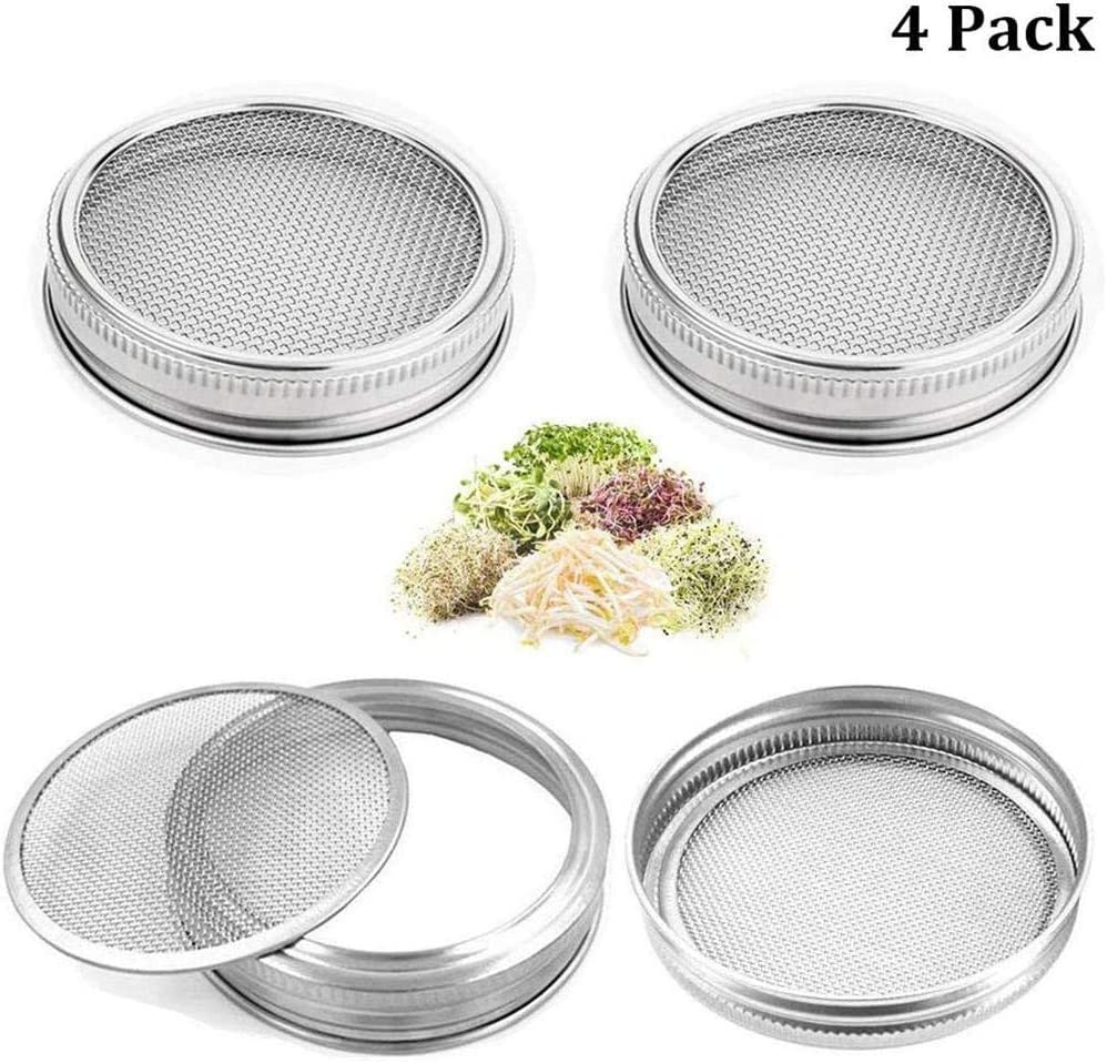 Grow Bean Sprouts Alfalfa Luermeuk 2pcs Seed Sprouting Jar Sprouting Lids for Wide Mouth Mason Jars Salad Sprouts Home Garden Plants