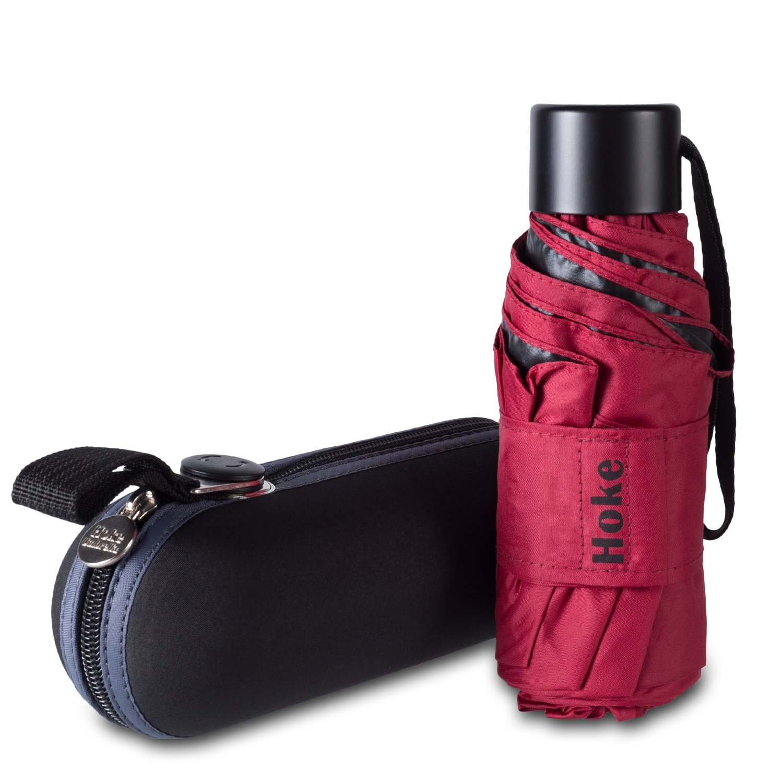 Hoke 8-Rib Mini Compact Umbrella. Windproof & Lightweight Travel Umbrella. UV Protection Parasol. (Wine Red)