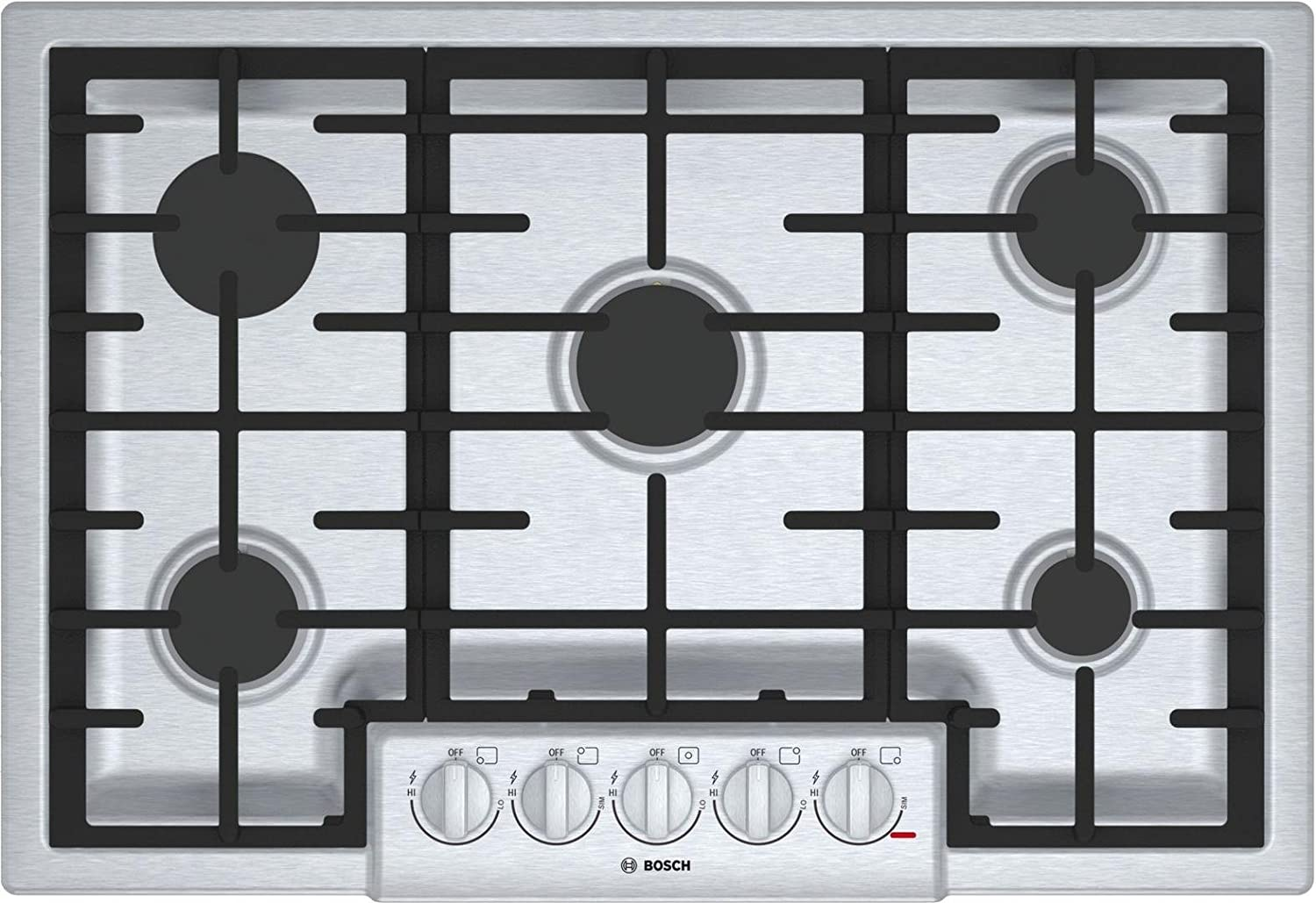 "Bosch 800 Series 30"" Stainless Steel 5 Burner Gas Cooktop"