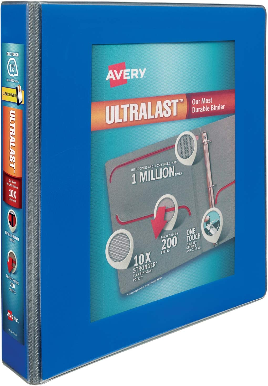 """Avery 1.5"""" Ultralast 3 Ring Binder, One Touch Slant Ring, Holds 8.5"""" x 11"""" Paper, 1 Blue Binder (79712)"""