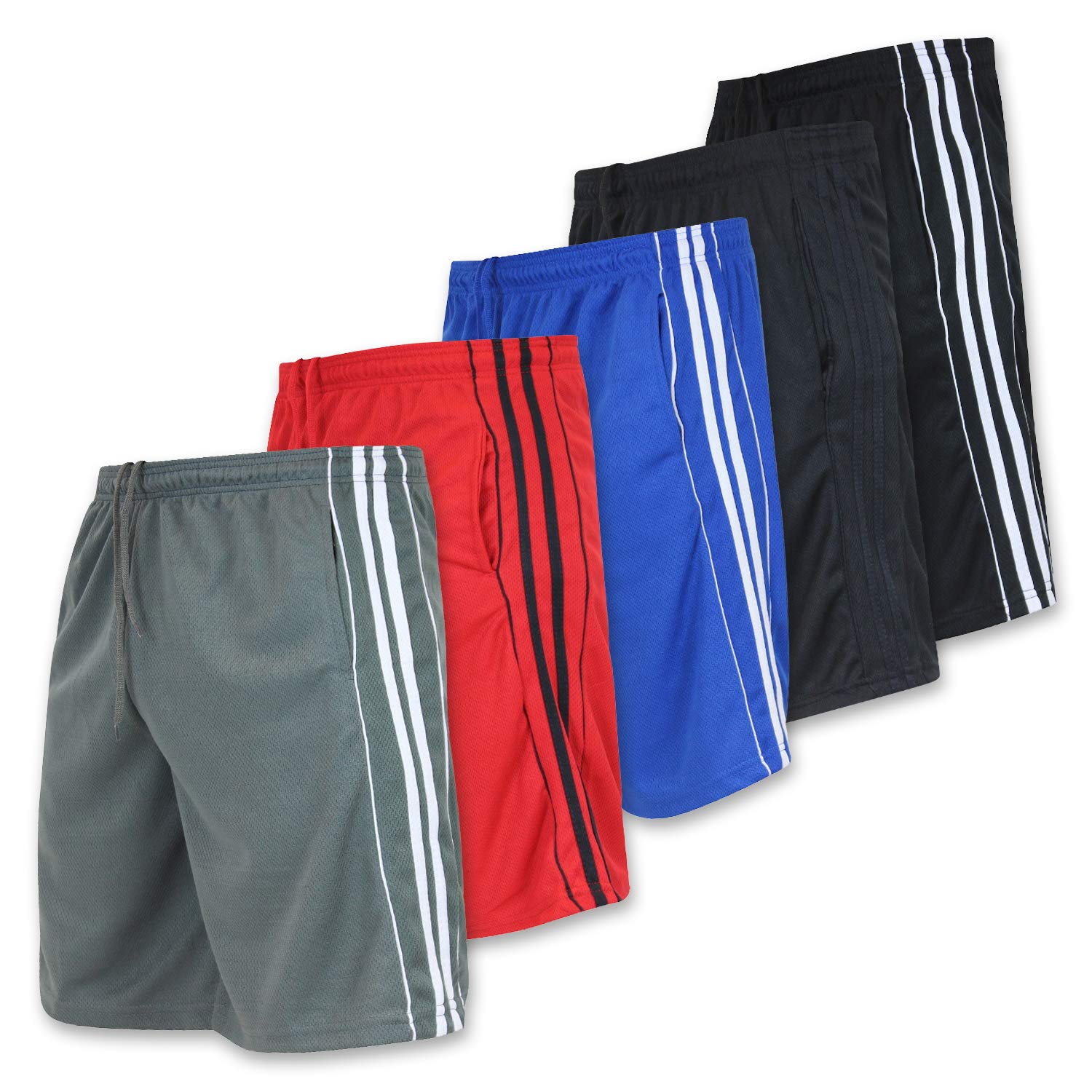 Men's Active Athletic Basketball Essentials Performance Gym Workout Shorts with Pockets - Set 5-5 Pack, S