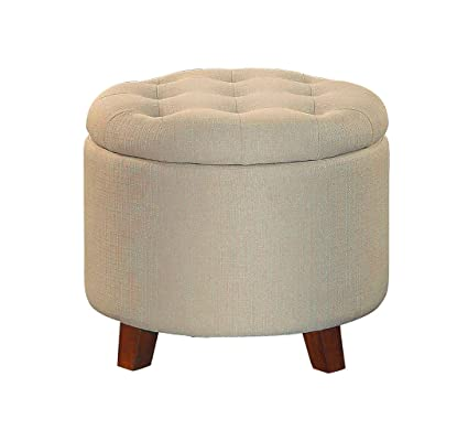 Amazoncom Efd Small Round Ottoman Storage Tufted Beige Wood And