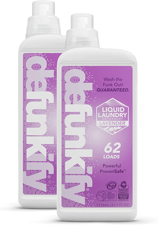 NEW! Defunkify Liquid Laundry Detergent, Lavender - Crushes Odor - EPA Safer Choice - 87% BioBased - 124 Loads (2-Pack of 62 Load Bottles) (Lavender)
