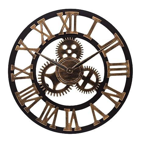 ufengke Gold Grosse Zahnrad Wanduhr Industriell Lautlos Holz Quarzuhr Deko  mit Zahlen für Büro Wohnzimmer, Durchmesser 58cm