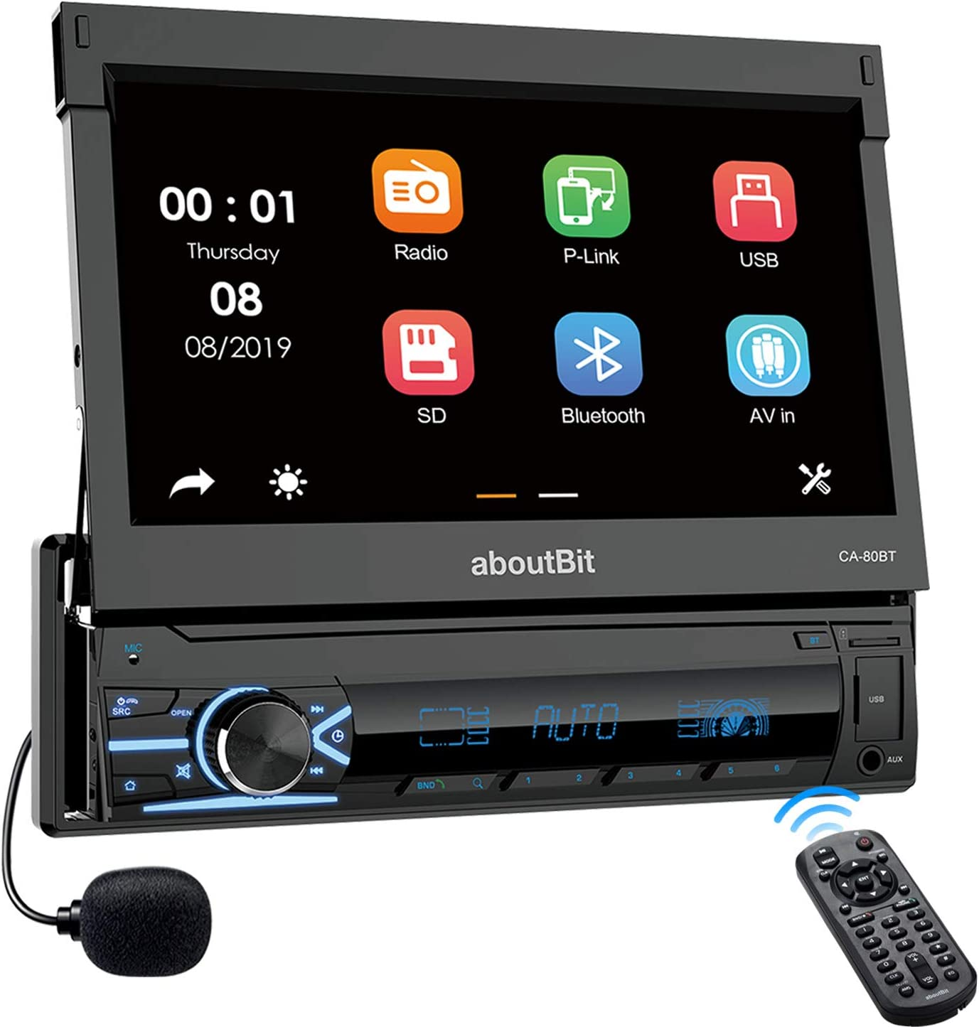 Single Din in Dash Car Stereo MP5 Player,aboutBit 7 inch Retractable Touch Screen and Rear View Camera Support USB Port Bluetooth AUX FM/AM Radio