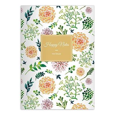 2 Florifères cahiers-personnalisés- avec des fleurs d'été, orange-vert, A4 (29,7x21; 32p), cahiers de notes/ carnets de notes, linéatur 20 (pages blanches)