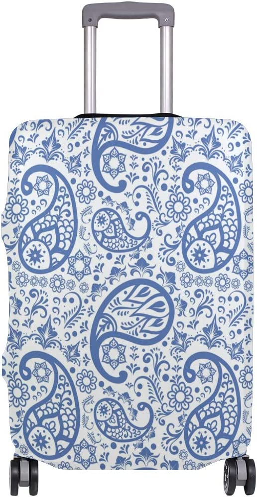 Travel Luggage Cover Blue Floral Paisley Pattern Suitcase Protector