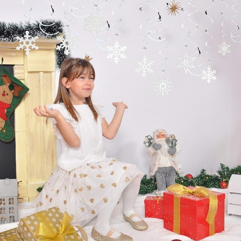 LANMOK Copos de Nieve Espiral Colgantes 36pcs Colgantes Decorativos en Espiral para Decoraci/ón de Fiesta de Navidad Tem/áticas de Invierno Reuniones Familiares Interacciones Padres y Hijos Plateado