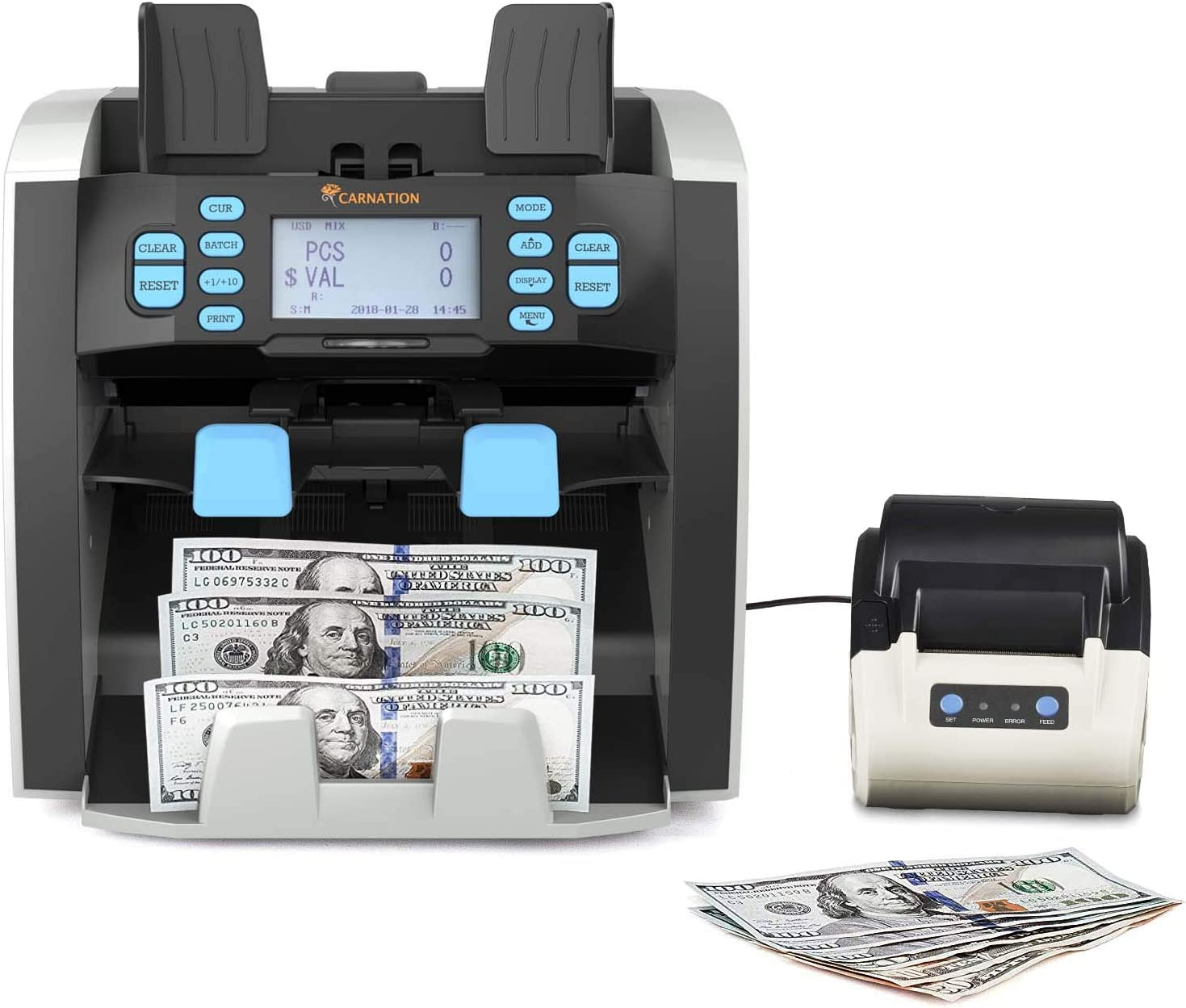 Bank Grade Mixed Denomination Bill Counter and Sorter CR1500 with Printer - Full Spectrum Counterfeit Detection PC Suite 2 Year Warranty