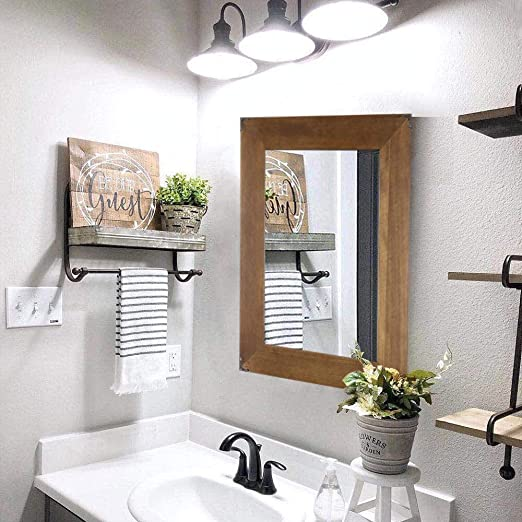 Rustic Wood Frame Wall Mirror Vanity Mirror Makeup Mirror Bathroom Mirror With Decorative Metal Corners For Farmhouse Living Room Bathroom Bedroom 23 X 17 Inch Amazon Ca Home Kitchen