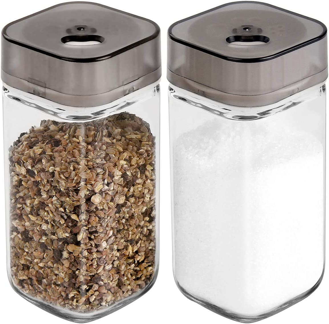 Salt and Pepper Shakers Set with Adjustable Pour Holes - Premium Salt and Pepper Dispenser - Glass