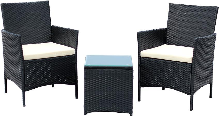 Indoor Complete EBS 3 Piece Rattan Wicker Patio Garden Lawn Furniture Outdoor