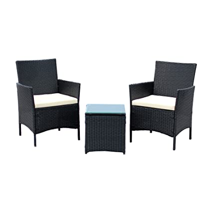 Attirant EBS 3 Piece Patio Rattan Furniture Set, Clearance With Cushions Outdoor  Wicker Garden Lawn Chair