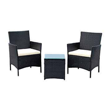 IDS Home 3 Piece Compact Outdoor/Indoor Garden Patio Furniture Set Black PE  Rattan Part 88