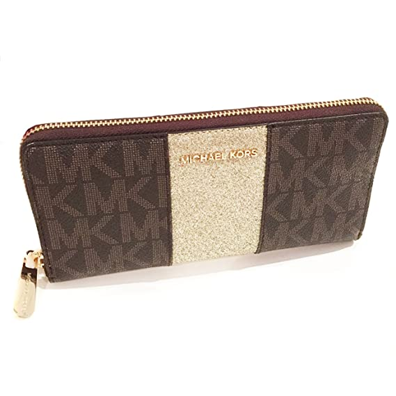 5f400695aae2 Image Unavailable. Image not available for. Colour: MICHAEL KORS New  Genuine 'Jet Set' Continental Glitter Leather Purse Wallet - Brown/